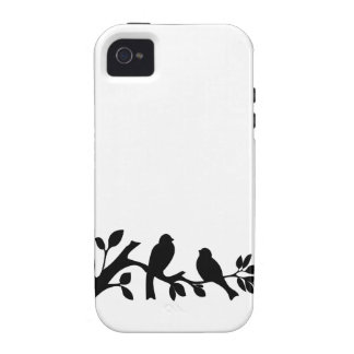 Lovebird del pájaro de la silueta de los pájaros d iPhone 4 funda