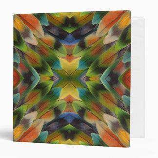 Lovebird feather kaleidoscope 3 ring binder