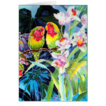 LOVEBIRD Greeting CARD with Orchids