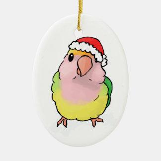 lovebird in a hat ceramic ornament