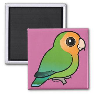 Lovebird Melocotón-hecho frente Naranja-hecho fren Imán Cuadrado