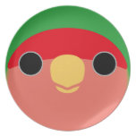 Lovebird Melocotón-hecho frente Plato