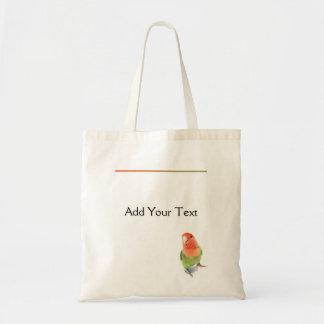 Lovebird on White Canvas Bag