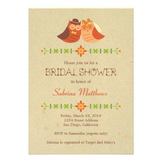 Lovebird Owls Bridal Shower Personalized Invites
