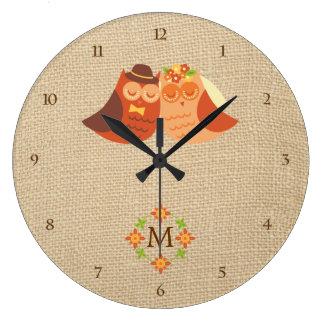 Lovebird Owls on Burlap Monogram Clock