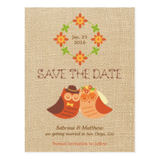 Lovebird Owls on Burlap Save the Date Postcard