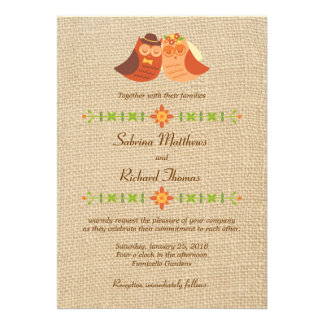 Lovebird Owls on Burlap Wedding Custom Invite
