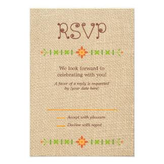 Lovebird Owls on Burlap Wedding RSVP Invitations