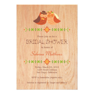 Lovebird Owls on Wood Bridal Shower Personalized Invite