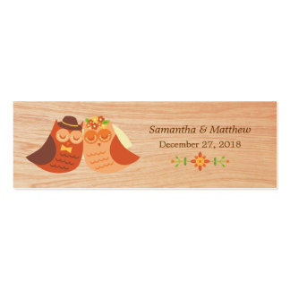 Lovebird Owls on Wood Skinny Wedding Favor Tags Mini Business Card