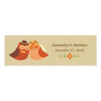 Lovebird Owls Skinny Wedding Favor Tags Mini Business Card