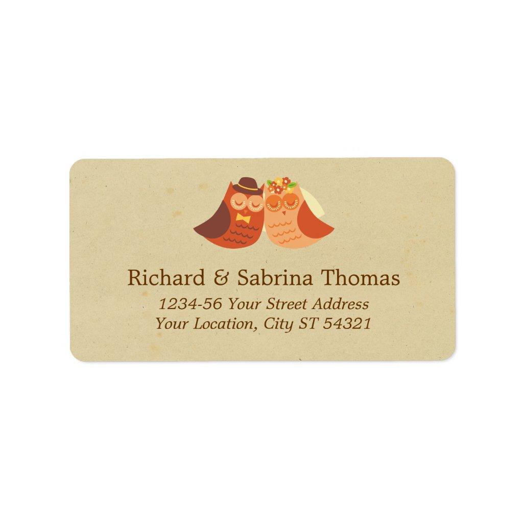 Lovebird Owls Wedding Address Label 5 sheets.
