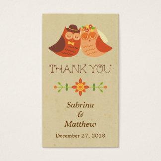 Lovebird Owls Wedding Favor Tags Business Card