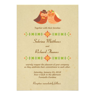 Lovebird Owls Wedding Personalized Invitations