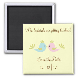 Lovebird Save The Date 2 Inch Square Magnet