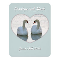 Lovebird Swans in Heart Gazing Wedding Invitation