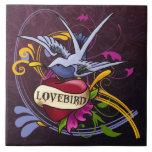 Lovebird Tattoo Ceramic Tile