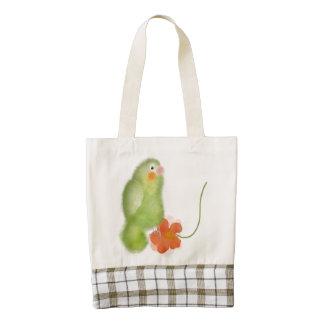 Lovebird verde con el bolso de la flor bolsa tote zazzle HEART