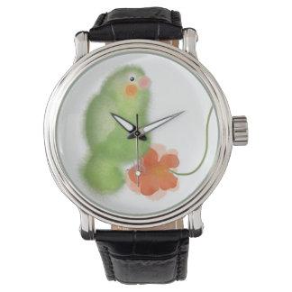 Lovebird verde con el reloj de la colección de la