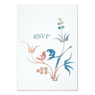 Lovebird Wedding Reply Card