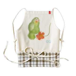 Lovebird with red flower apron