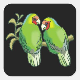Lovebirds (2) pegatina cuadrada