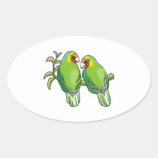 Lovebirds (2) pegatina ovalada