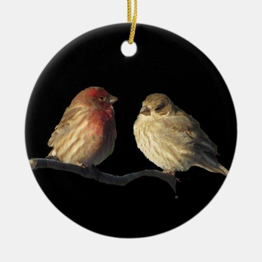 Lovebirds Adorno Navideño Redondo De Cerámica