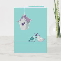 Lovebirds and Birdhouse Holiday Card