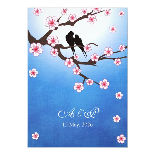 Lovebirds and Sakura - Blue Background Card