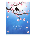 Lovebirds and Sakura - Blue Background Personalized Invitations