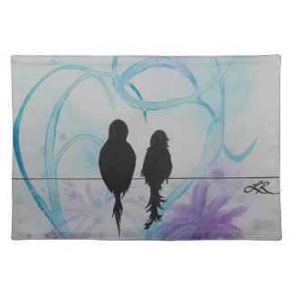 Lovebirds Anniversary Teal and Purple Placemat