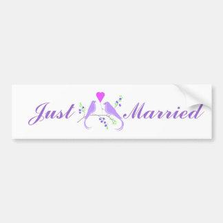 Lovebirds apenas casados, pegatina para el paracho etiqueta de parachoque