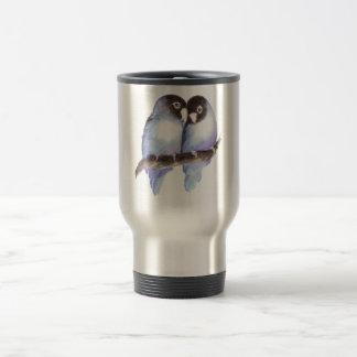 Lovebirds azules de la acuarela original, pájaro tazas de café