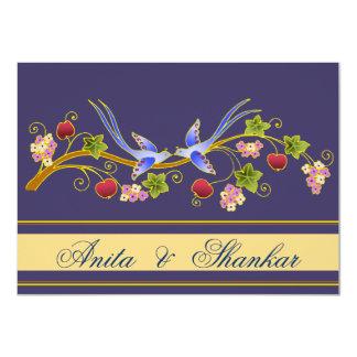 Lovebirds (azules) que casan la invitación