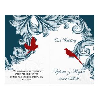 lovebirds azules y rojos doblados casando programa tarjetas informativas