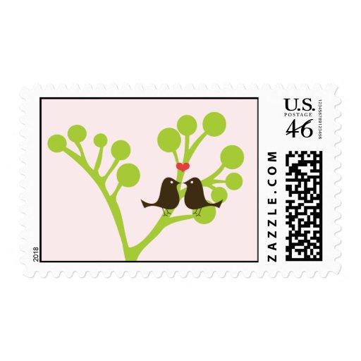 Lovebirds (Blush Pink) Postage Stamp