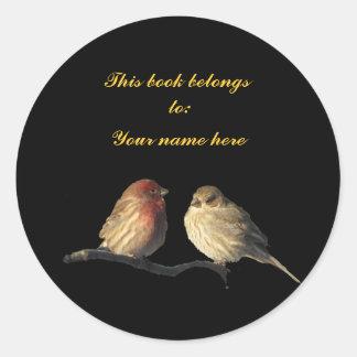 Lovebirds Bookplate Round Stickers