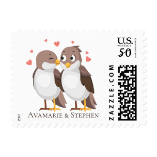 Lovebirds Brown Wedding Bridal Shower Engagement Postage