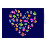 Lovebirds - búhos tarjeta de felicitación