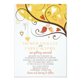Lovebirds caprichosos del otoño que casan la invitación 12,7 x 17,8 cm