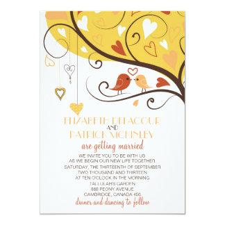 """Lovebirds caprichosos del otoño que casan la invitación 5"""" x 7"""""""