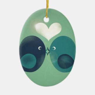 Lovebirds Ceramic Ornament