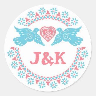 Lovebirds coral and aqua round sticker