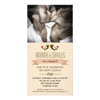 Lovebirds Cream Engagement Photo Card