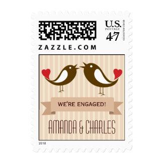 Lovebirds Cream Engagement Postage