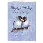Lovebirds del azul del amor del feliz cumpleaños tarjeta