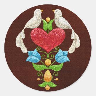 Lovebirds del brillo etiquetas redondas