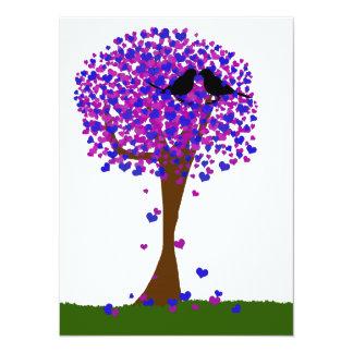 """Lovebirds del invierno que se sientan en un árbol invitación 5.5"""" x 7.5"""""""