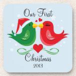 Lovebirds del navidad personalizados posavasos